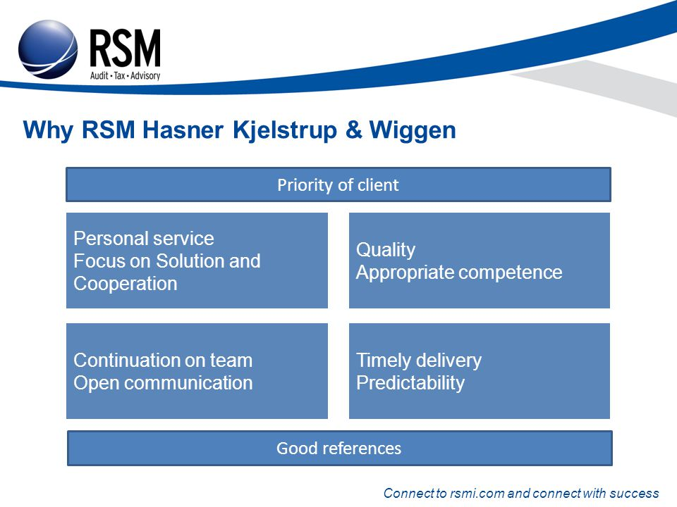 Connect to rsmi.com and connect with success Why RSM Hasner Kjelstrup & Wiggen Personal service Focus on Solution and Cooperation Continuation on team Open communication Quality Appropriate competence Timely delivery Predictability Priority of client Good references