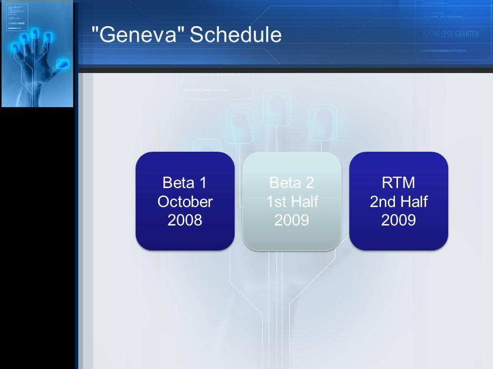 Geneva Schedule Beta 1 October 2008 Beta 1 October 2008 Beta 2 1st Half 2009 Beta 2 1st Half 2009 RTM 2nd Half 2009 RTM 2nd Half 2009