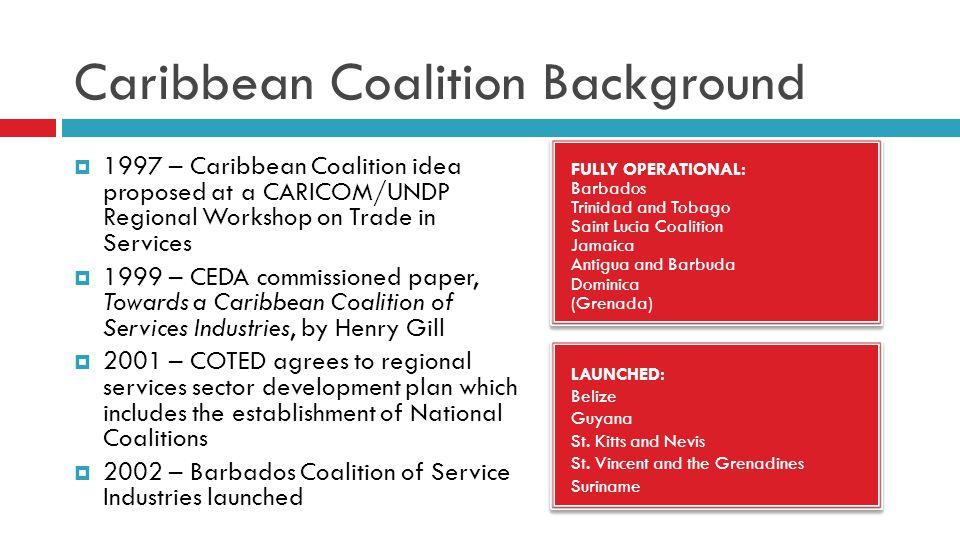 Caribbean Coalition Background FULLY OPERATIONAL: Barbados Trinidad and Tobago Saint Lucia Coalition Jamaica Antigua and Barbuda Dominica (Grenada) FU
