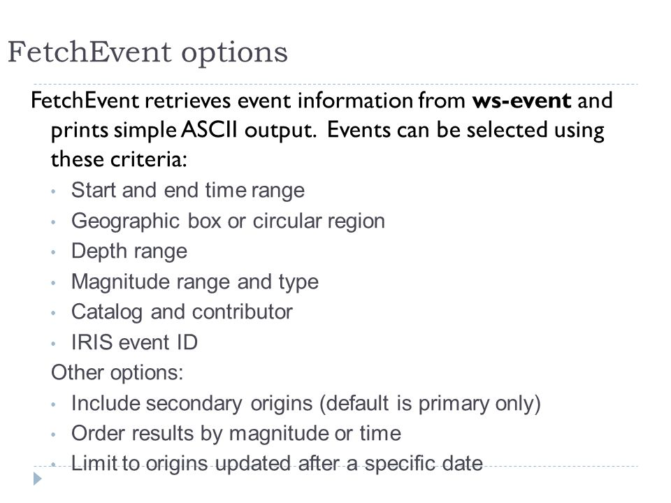FetchEvent retrieves event information from ws-event and prints simple ASCII output.