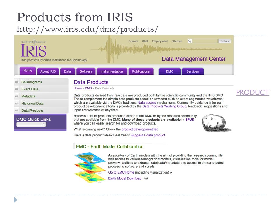 Products from IRIS http://www.iris.edu/dms/products/ PRODUCT