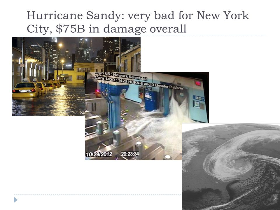 Hurricane Sandy: very bad for New York City, $75B in damage overall