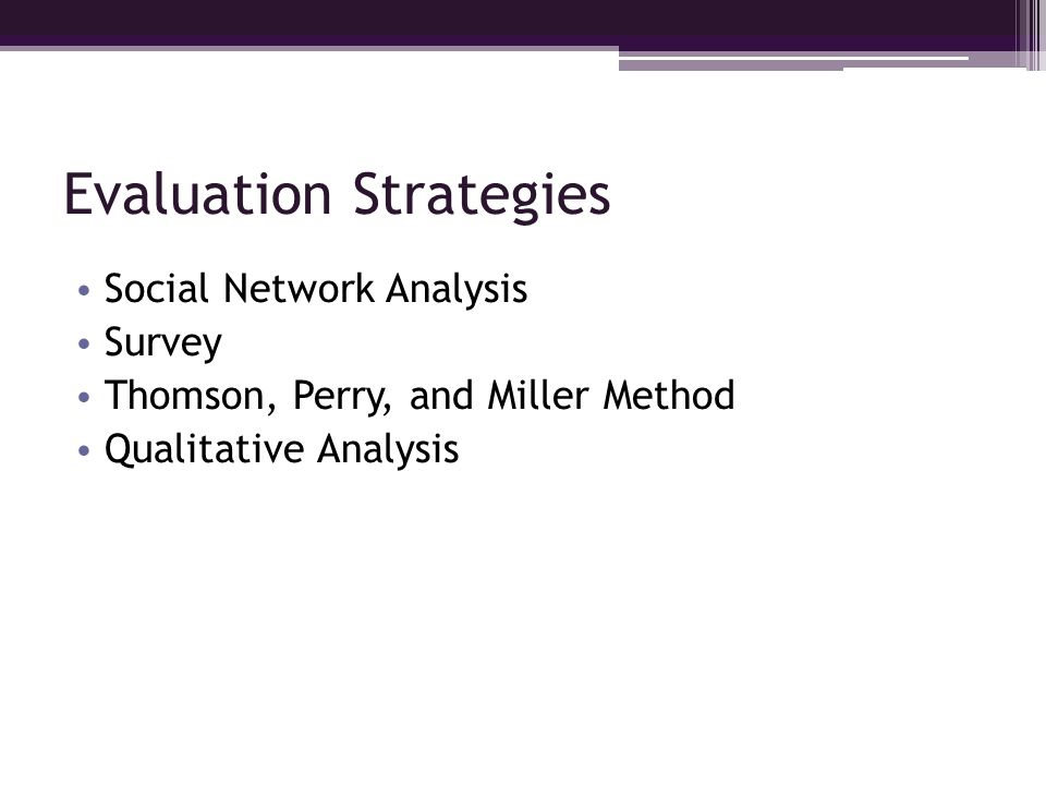 Evaluation Strategies Social Network Analysis Survey Thomson, Perry, and Miller Method Qualitative Analysis