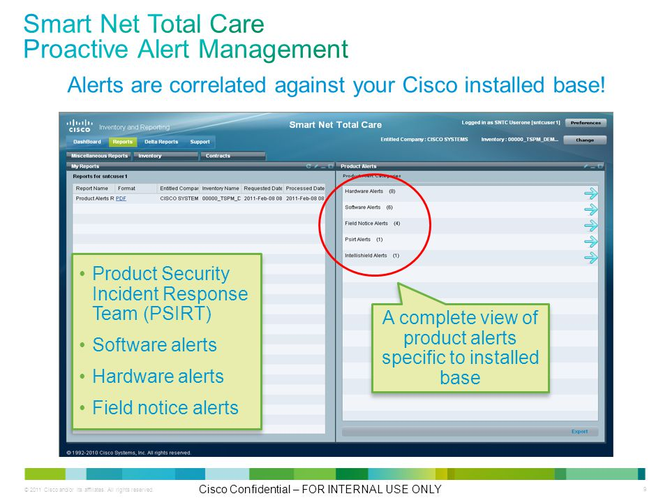 © 2011 Cisco and/or its affiliates. All rights reserved. Cisco Confidential – FOR INTERNAL USE ONLY 9 Alerts are correlated against your Cisco install