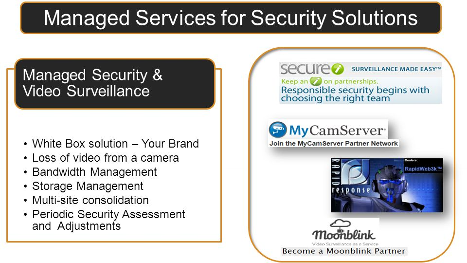 Managed Services for Security Solutions White Box solution – Your Brand Loss of video from a camera Bandwidth Management Storage Management Multi-site