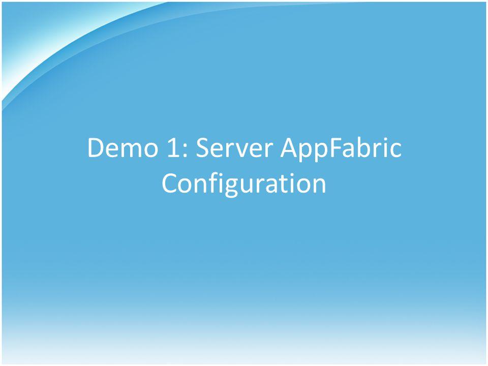 Demo 1: Server AppFabric Configuration