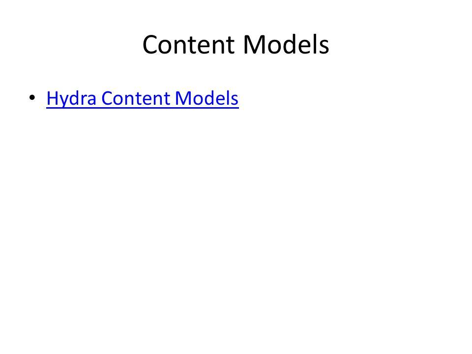 Content Models Hydra Content Models