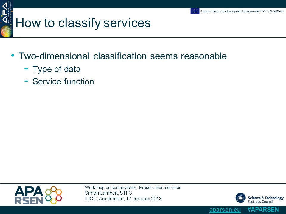 Workshop on sustainability: Preservation services Simon Lambert, STFC IDCC, Amsterdam, 17 January 2013 Co-funded by the European Union under FP7-ICT-2009-6 aparsen.eu #APARSEN How to classify services Two-dimensional classification seems reasonable - Type of data - Service function