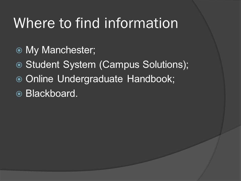 Where to find information My Manchester; Student System (Campus Solutions); Online Undergraduate Handbook; Blackboard.