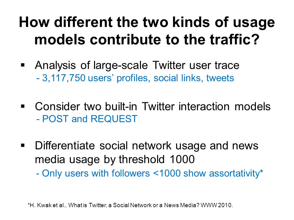 How different the two kinds of usage models contribute to the traffic.