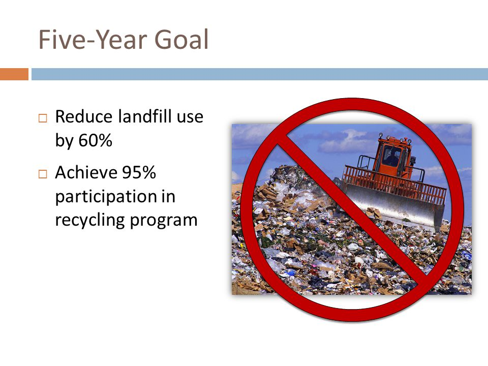 Five-Year Goal Reduce landfill use by 60% Achieve 95% participation in recycling program