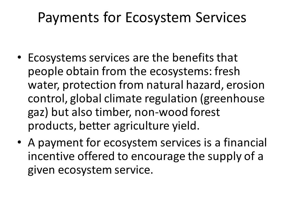 Payments for Ecosystem Services Ecosystems services are the benefits that people obtain from the ecosystems: fresh water, protection from natural hazard, erosion control, global climate regulation (greenhouse gaz) but also timber, non-wood forest products, better agriculture yield.