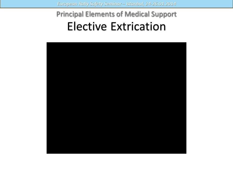 European Rally Safety Seminar – Istanbul, 24-26.01.2014 Principal Elements of Medical Support Principal Elements of Medical Support Elective Extrication