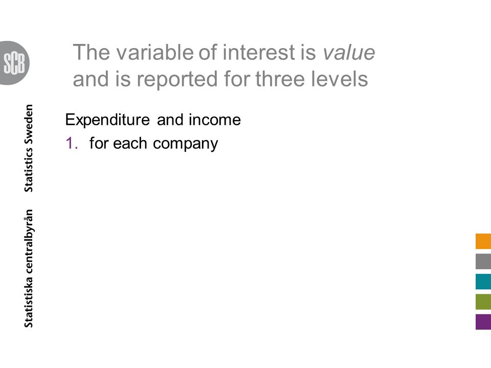 The variable of interest is value and is reported for three levels Expenditure and income 1.for each company