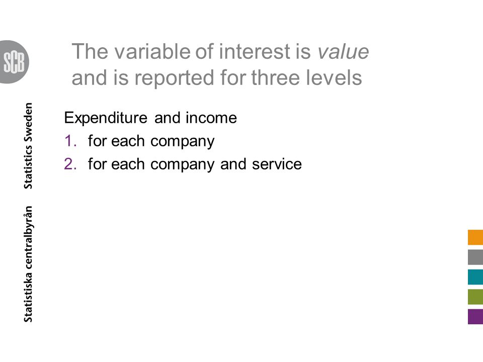The variable of interest is value and is reported for three levels Expenditure and income 1.for each company 2.for each company and service
