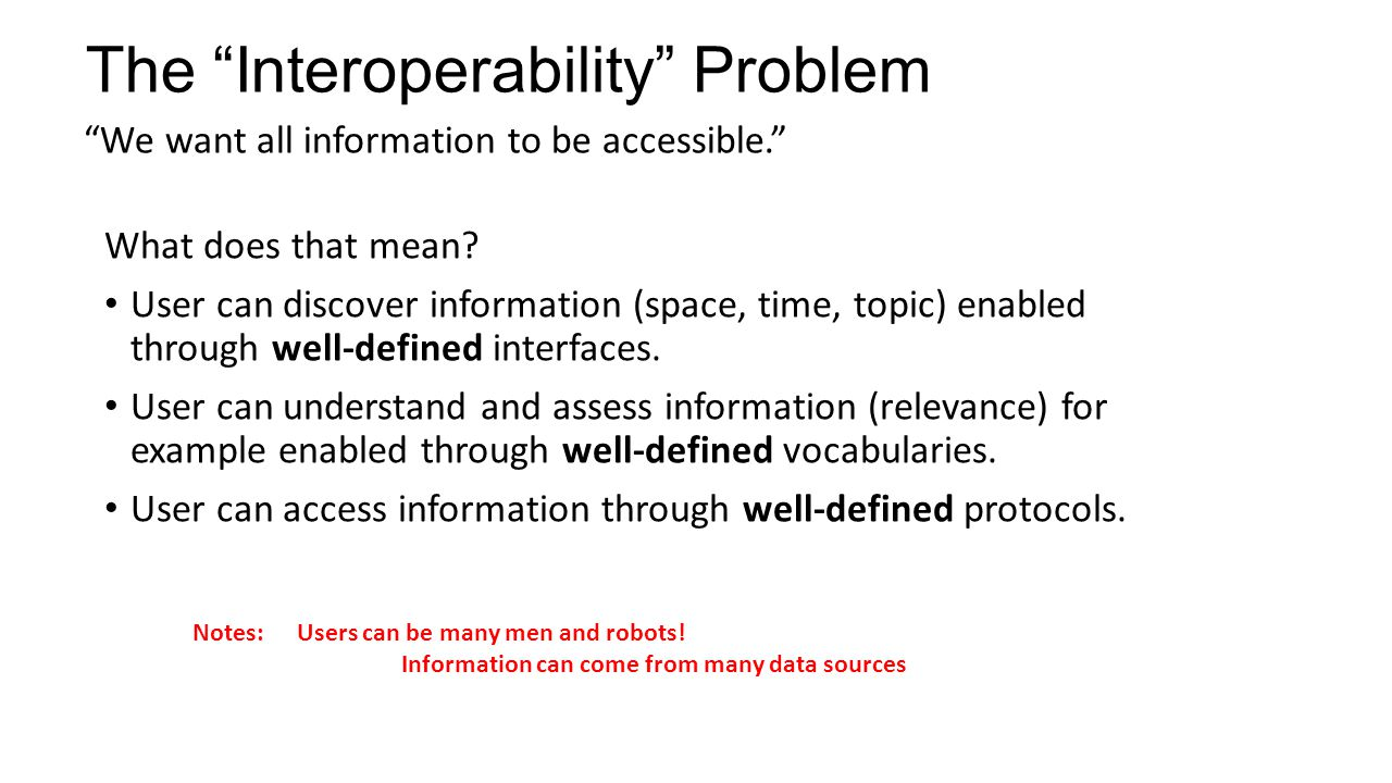 The Interoperability Problem We want all information to be accessible. What does that mean? User can discover information (space, time, topic) enabled