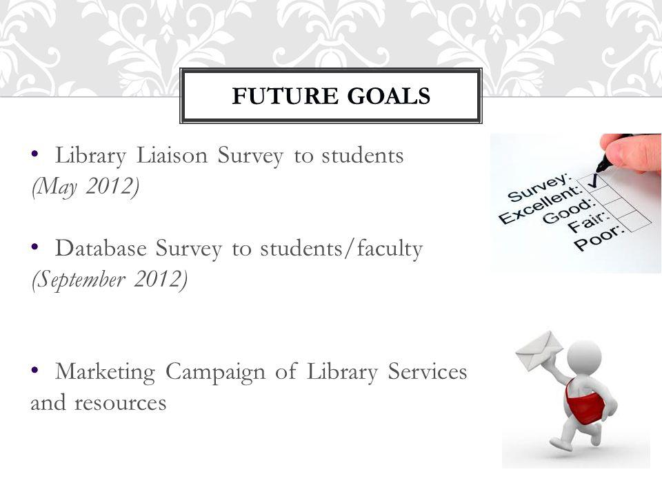 FUTURE GOALS 3 Library Liaison Survey to students (May 2012) Database Survey to students/faculty (September 2012) Marketing Campaign of Library Services and resources FUTURE GOALS