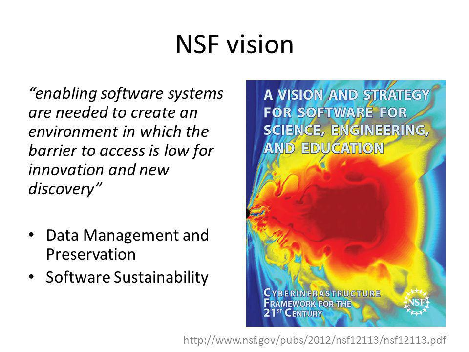 NSF vision enabling software systems are needed to create an environment in which the barrier to access is low for innovation and new discovery Data M