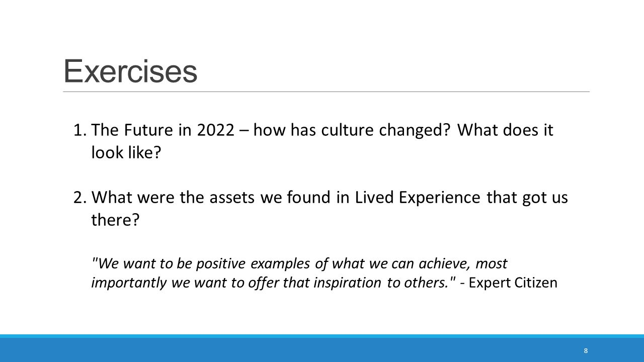 Exercises 8 1.The Future in 2022 – how has culture changed.