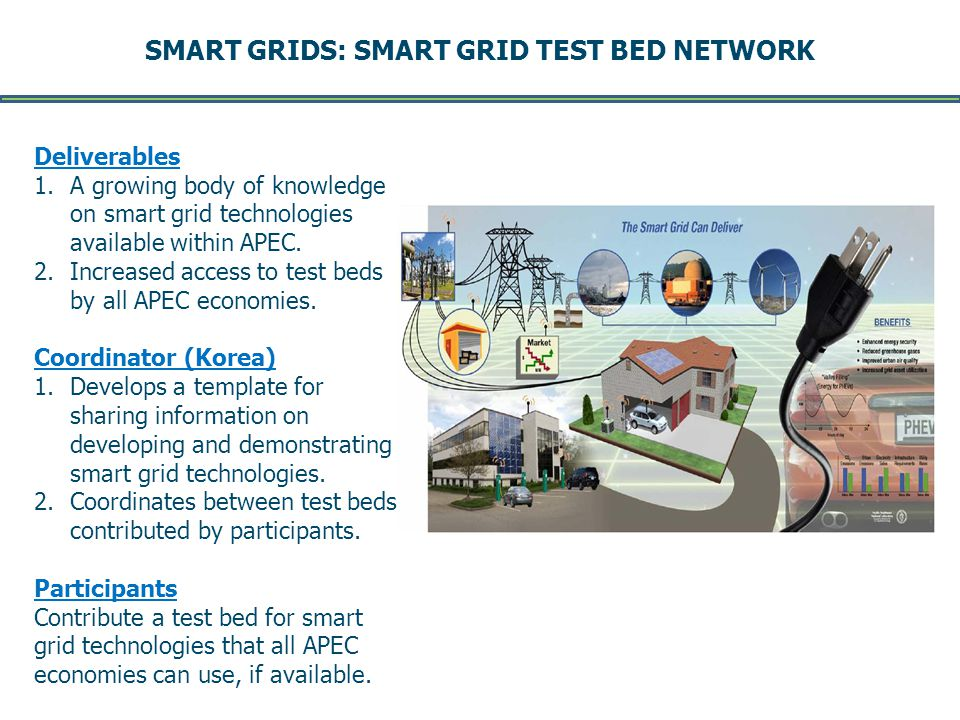 SMART GRIDS: SMART GRID TEST BED NETWORK -- Page 10 -- DRAFT August 2011 Deliverables 1.A growing body of knowledge on smart grid technologies available within APEC.