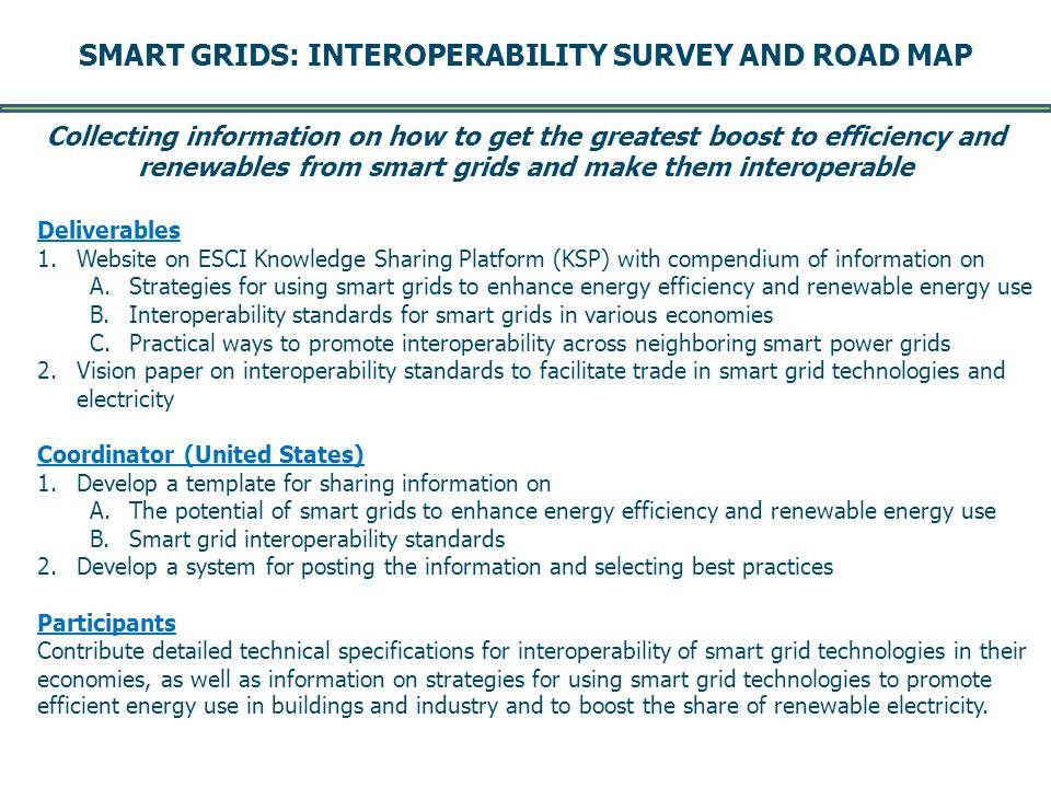 SMART GRIDS: INTEROPERABILITY SURVEY AND ROAD MAP -- Page 9 -- DRAFT August 2011 Deliverables 1.Website on ESCI Knowledge Sharing Platform (KSP) with compendium of information on A.Strategies for using smart grids to enhance energy efficiency and renewable energy use B.Interoperability standards for smart grids in various economies C.Practical ways to promote interoperability across neighboring smart power grids 2.Vision paper on interoperability standards to facilitate trade in smart grid technologies and electricity Coordinator (United States) 1.Develop a template for sharing information on A.The potential of smart grids to enhance energy efficiency and renewable energy use B.Smart grid interoperability standards 2.Develop a system for posting the information and selecting best practices Participants Contribute detailed technical specifications for interoperability of smart grid technologies in their economies, as well as information on strategies for using smart grid technologies to promote efficient energy use in buildings and industry and to boost the share of renewable electricity.