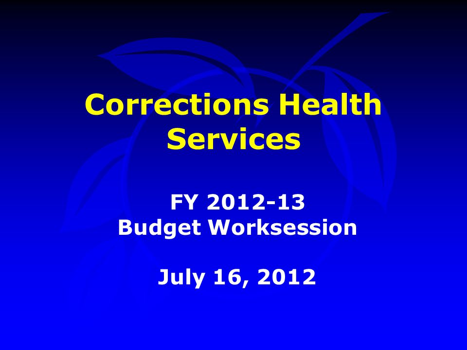 Corrections Health Services FY 2012-13 Budget Worksession July 16, 2012