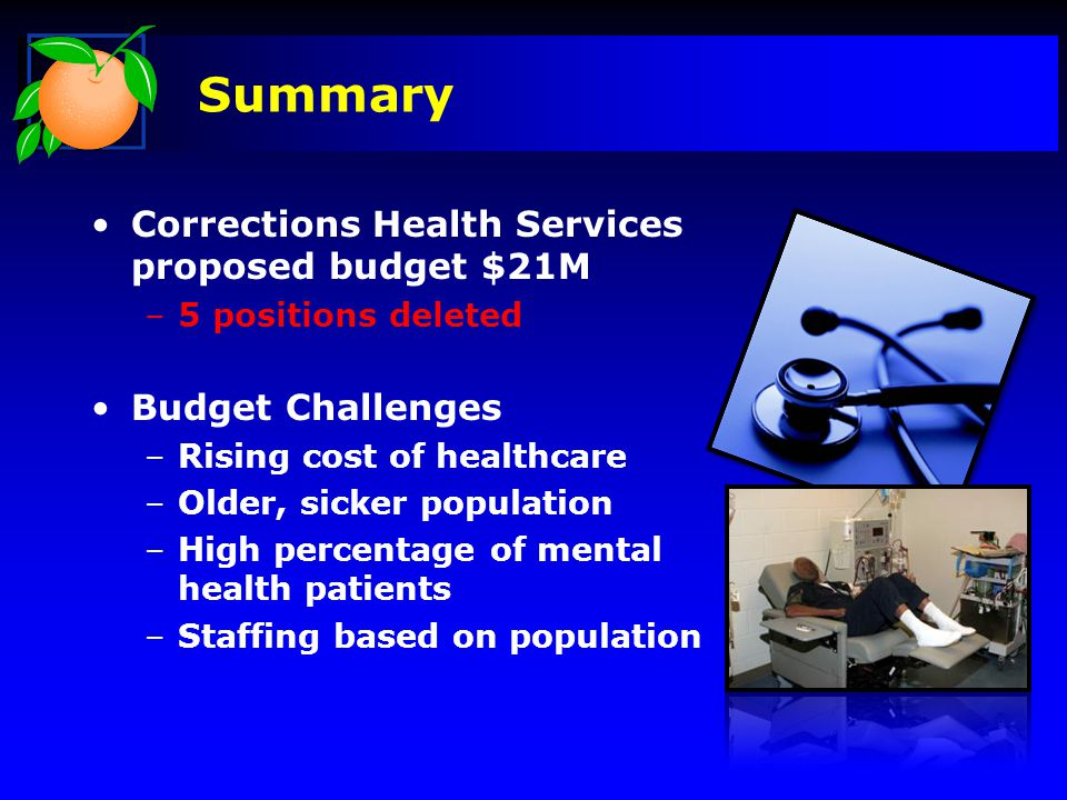 Corrections Health Services proposed budget $21M –5 positions deleted Budget Challenges –Rising cost of healthcare –Older, sicker population –High per