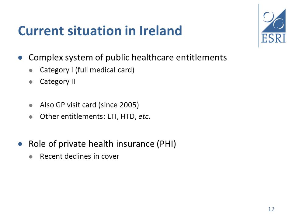 Current situation in Ireland Complex system of public healthcare entitlements Category I (full medical card) Category II Also GP visit card (since 2005) Other entitlements: LTI, HTD, etc.