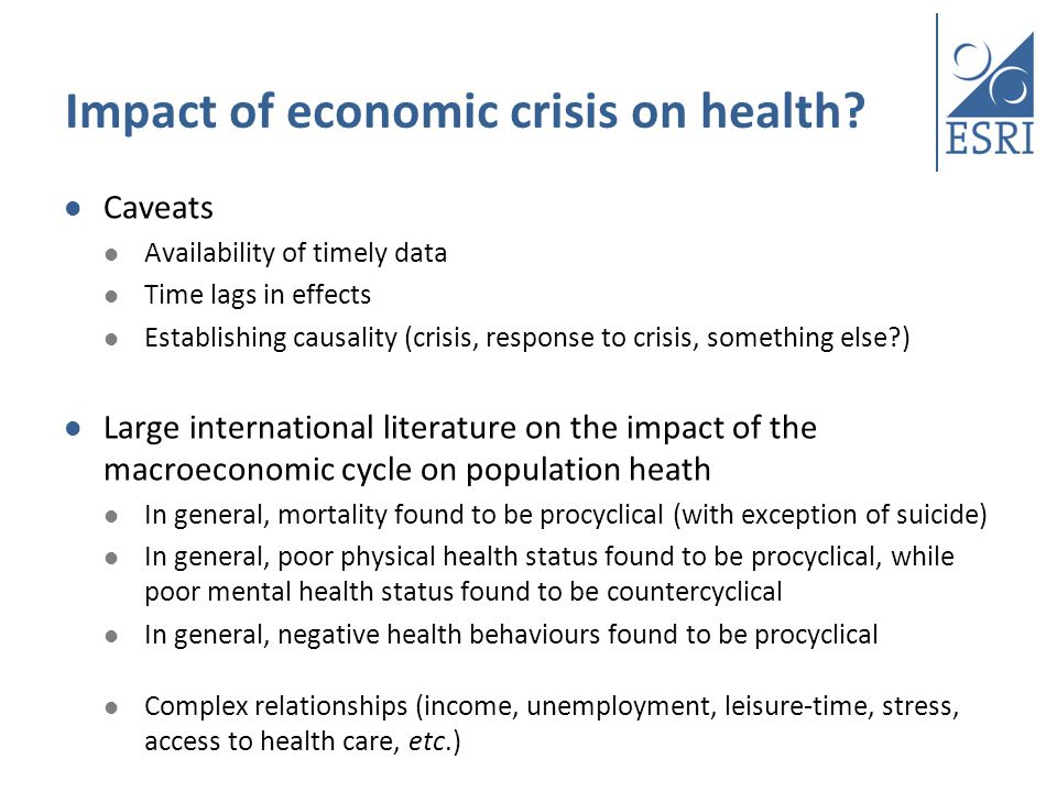 Impact of economic crisis on health.