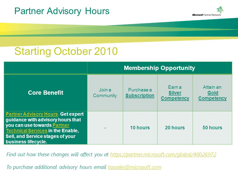 Partner Advisory Hours Starting October 2010 Membership Opportunity Core Benefit Join a Community Purchase a Subscription Earn a Silver Competency Attain an Gold Competency Partner Advisory HoursPartner Advisory Hours: Get expert guidance with advisory hours that you can use towards Partner Technical Services in the Enable, Sell, and Service stages of your business lifecycle.Partner Technical Services -10 hours20 hours50 hours Find out how these changes will affect you at https://partner.microsoft.com/global/40026972https://partner.microsoft.com/global/40026972 To purchase additional advisory hours email tassales@microsoft.comtassales@microsoft.com