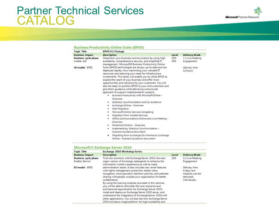 CATALOG Partner Technical Services