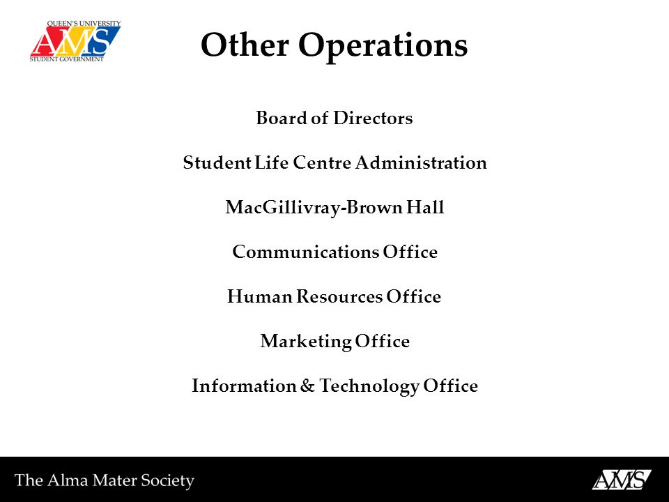 Other Operations Board of Directors Student Life Centre Administration MacGillivray-Brown Hall Communications Office Human Resources Office Marketing Office Information & Technology Office
