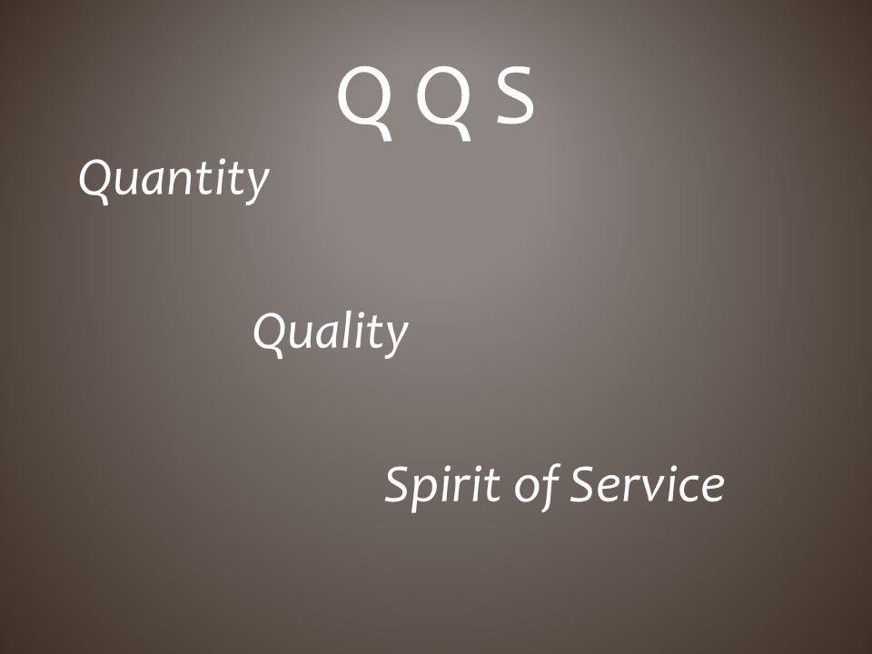 Quantity Quality Spirit of Service Q Q S