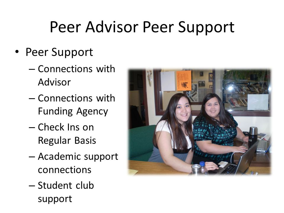 Peer Advisor Peer Support Peer Support – Connections with Advisor – Connections with Funding Agency – Check Ins on Regular Basis – Academic support co