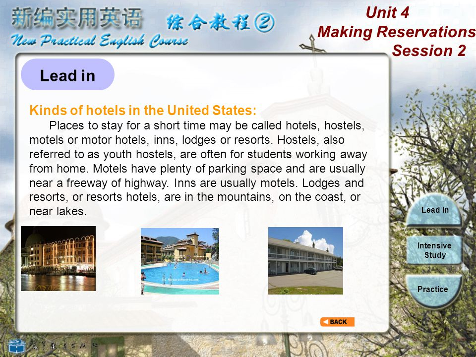 Unit 4 Making Reservations Session 2 Lead in Intensive Study Practice Kinds of beds People working in hotels Kinds of hotels in the United States Warm-up questions Facilities in hotels Lead in
