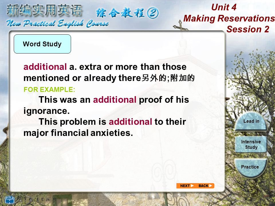 Unit 4 Making Reservations Session 2 Lead in Intensive Study Practice Word Study lack n.