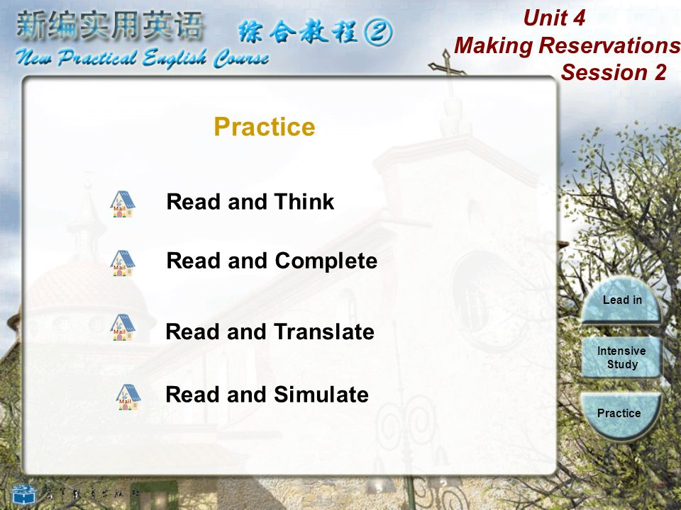Unit 4 Making Reservations Session 2 Lead in Intensive Study Practice We hope you will enjoy your stay here and find your room comfortable and pleasant.