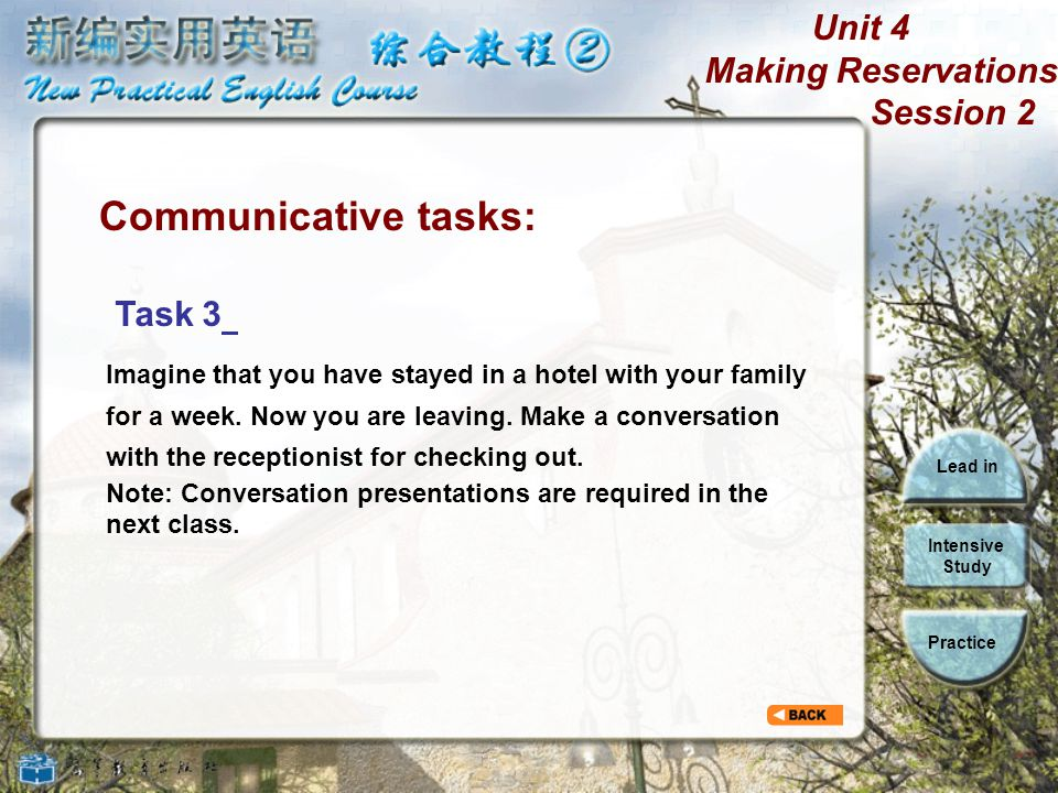 Unit 4 Making Reservations Session 2 Lead in Intensive Study Practice Communicative tasks: Task 2 Suppose you are traveling abroad in Canada and you h