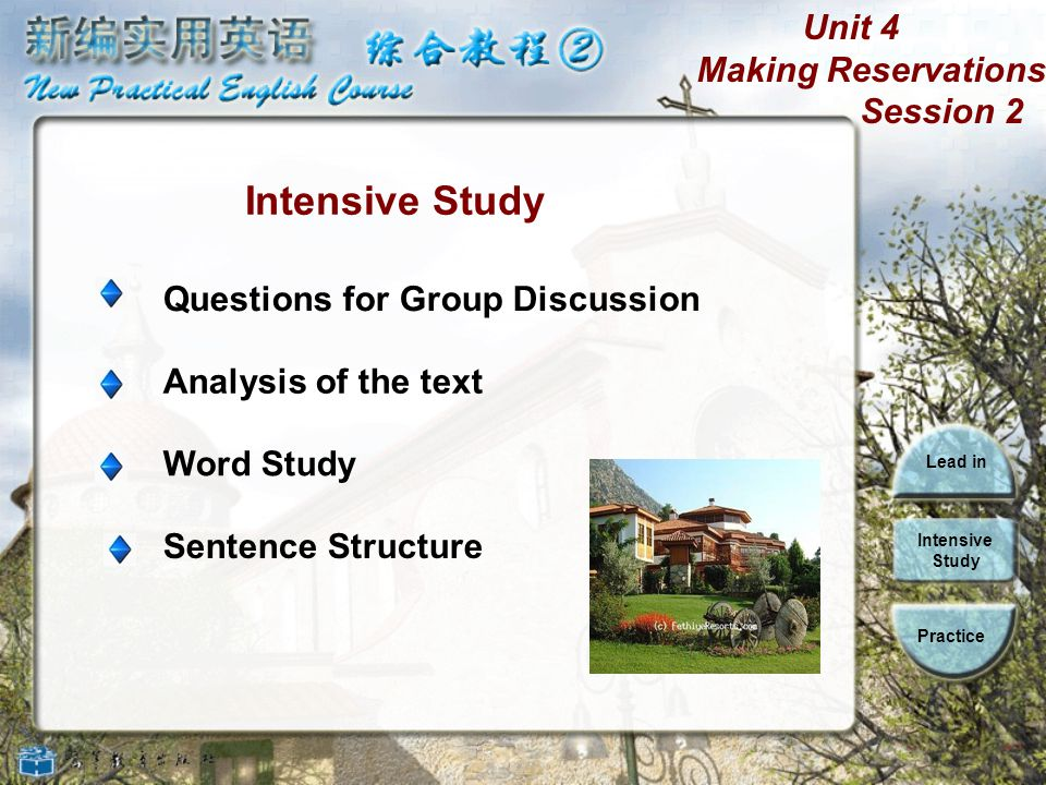 Unit 4 Making Reservations Session 2 Lead in Intensive Study Practice 1. Where do you usually stay when you are traveling? I usually stay in a hotel.