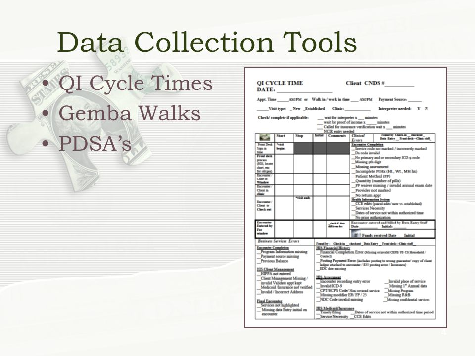 Data Collection Tools QI Cycle Times Gemba Walks PDSAs 4