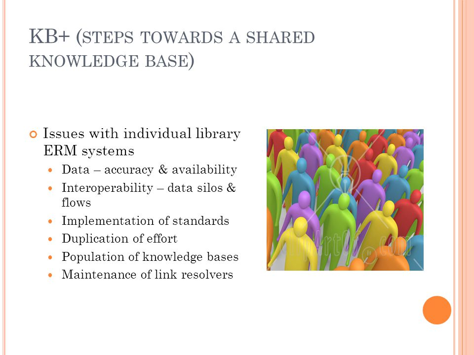 KB+ ( STEPS TOWARDS A SHARED KNOWLEDGE BASE ) Issues with individual library ERM systems Data – accuracy & availability Interoperability – data silos & flows Implementation of standards Duplication of effort Population of knowledge bases Maintenance of link resolvers