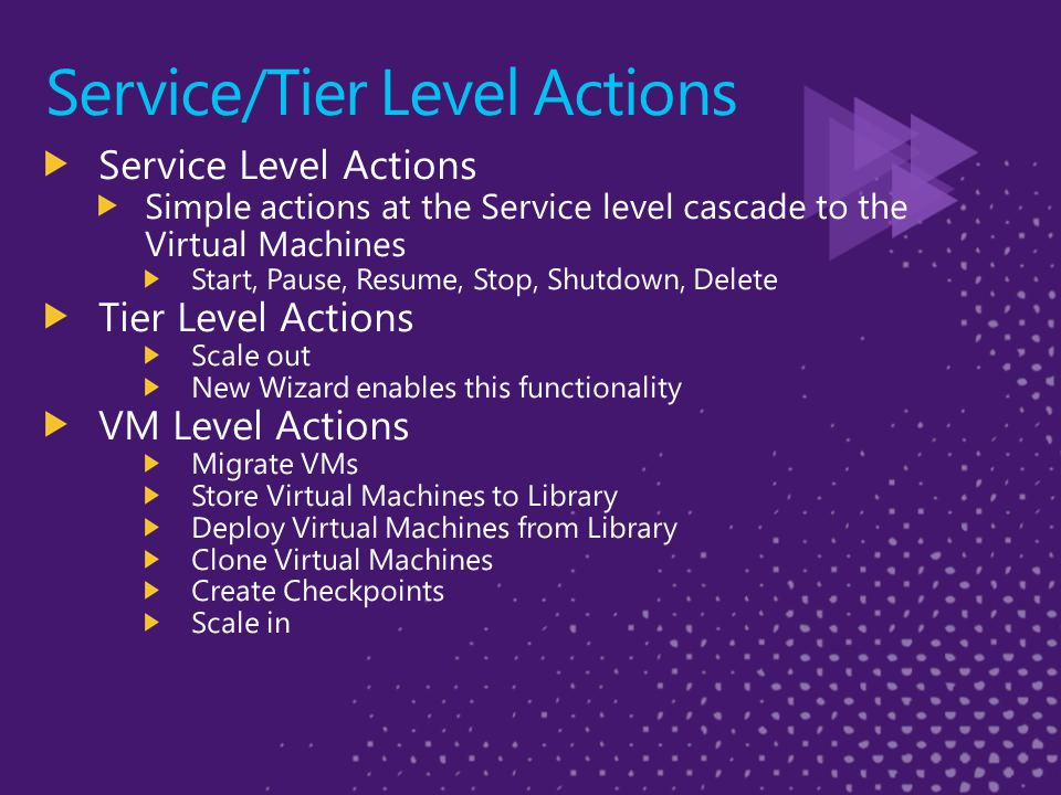 Service/Tier Level Actions