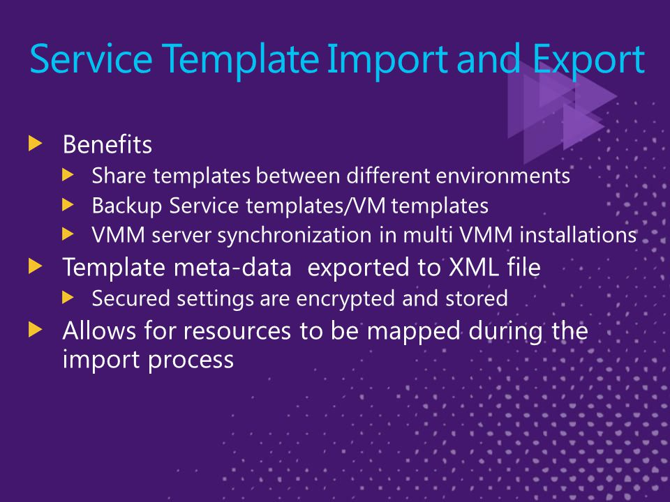 Service Template Import and Export