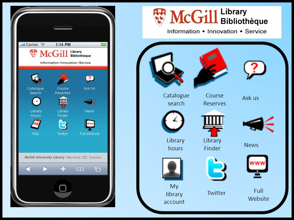 Catalogue search Course Reserves Ask us Library hours Library Finder News My library account Twitter Full Website