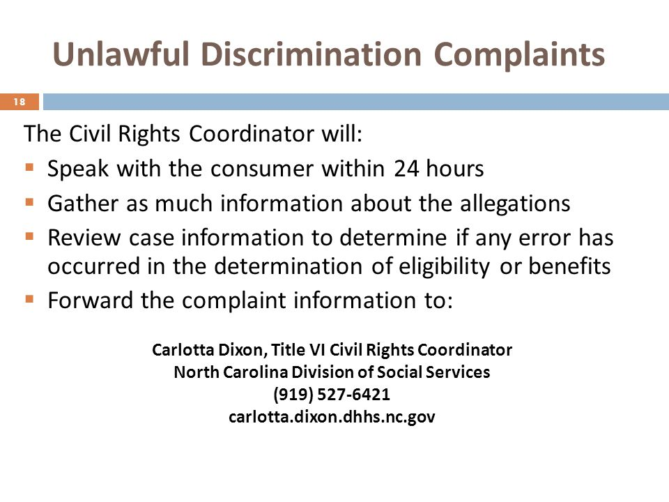 Unlawful Discrimination Complaints This poster should be prominently displayed in agency lobbies & waiting areas to: Post the nondiscrimination statement.