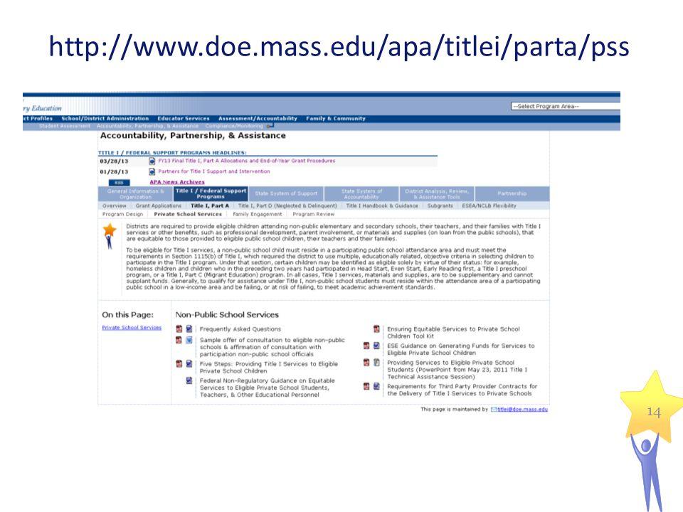 14 http://www.doe.mass.edu/apa/titlei/parta/pss