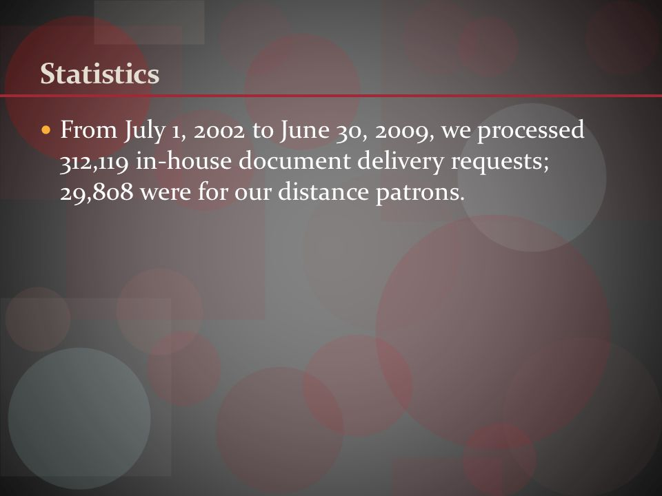 From July 1, 2002 to June 30, 2009, we processed 312,119 in-house document delivery requests; 29,808 were for our distance patrons.