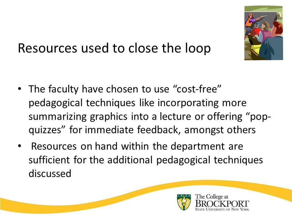 Resources used to close the loop The faculty have chosen to use cost-free pedagogical techniques like incorporating more summarizing graphics into a lecture or offering pop- quizzes for immediate feedback, amongst others Resources on hand within the department are sufficient for the additional pedagogical techniques discussed