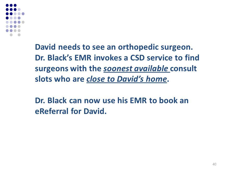 David needs to see an orthopedic surgeon. Dr.