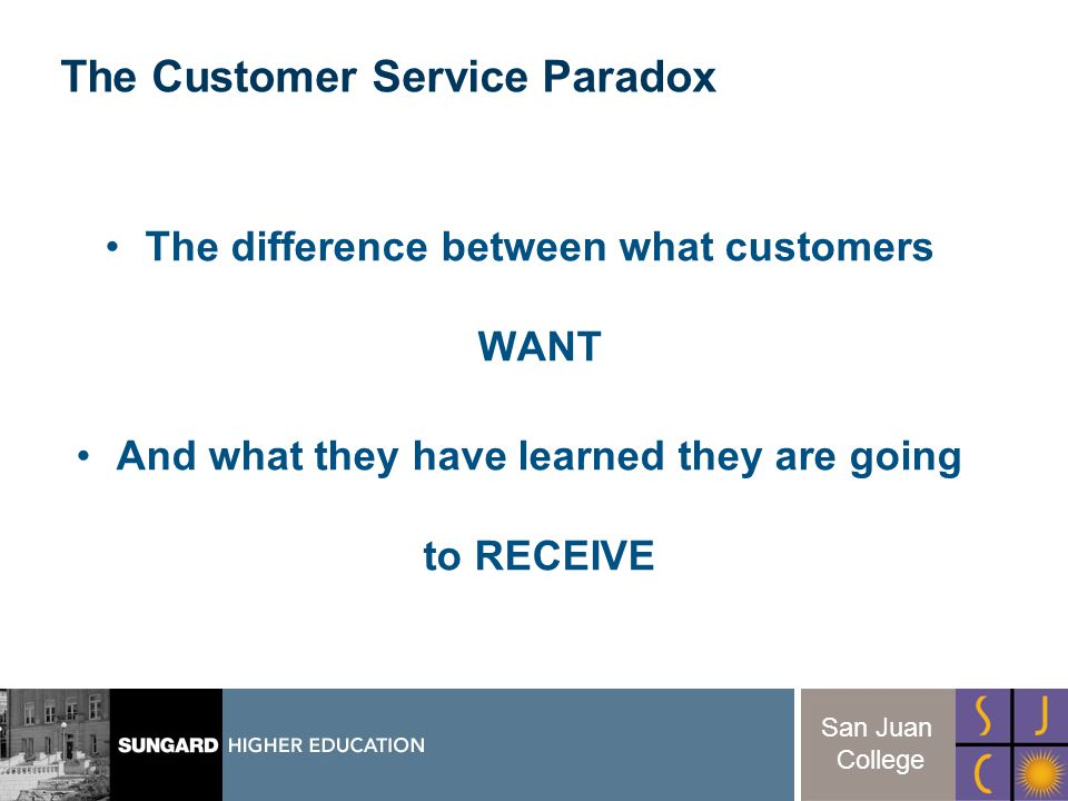 10 San Juan College The difference between what customers WANT And what they have learned they are going to RECEIVE The Customer Service Paradox